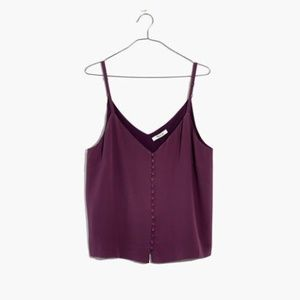 Madewell Purple Silk Button Cami